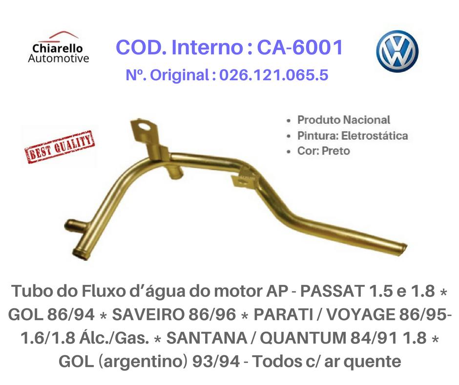 Tubo da água motor GOL SAVEIRO PARATI VOYAGE SANTANA Todos C/Ar quente  - Chiarello Automotive