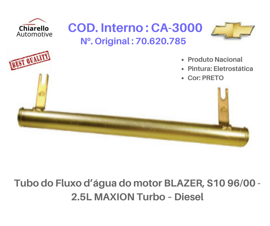 Tubo da água do motor BLAZER S10 - 2.5L MAXION Turbo – Diesel  - Chiarello Automotive