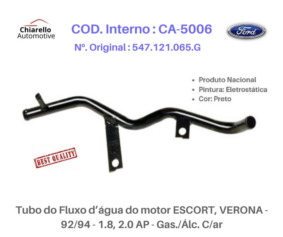 Tubo da água do motor ESCORT, VERONA - 92/94 - 1.8, 2.0 AP - Gas./Álc. C/ar  - Chiarello Automotive