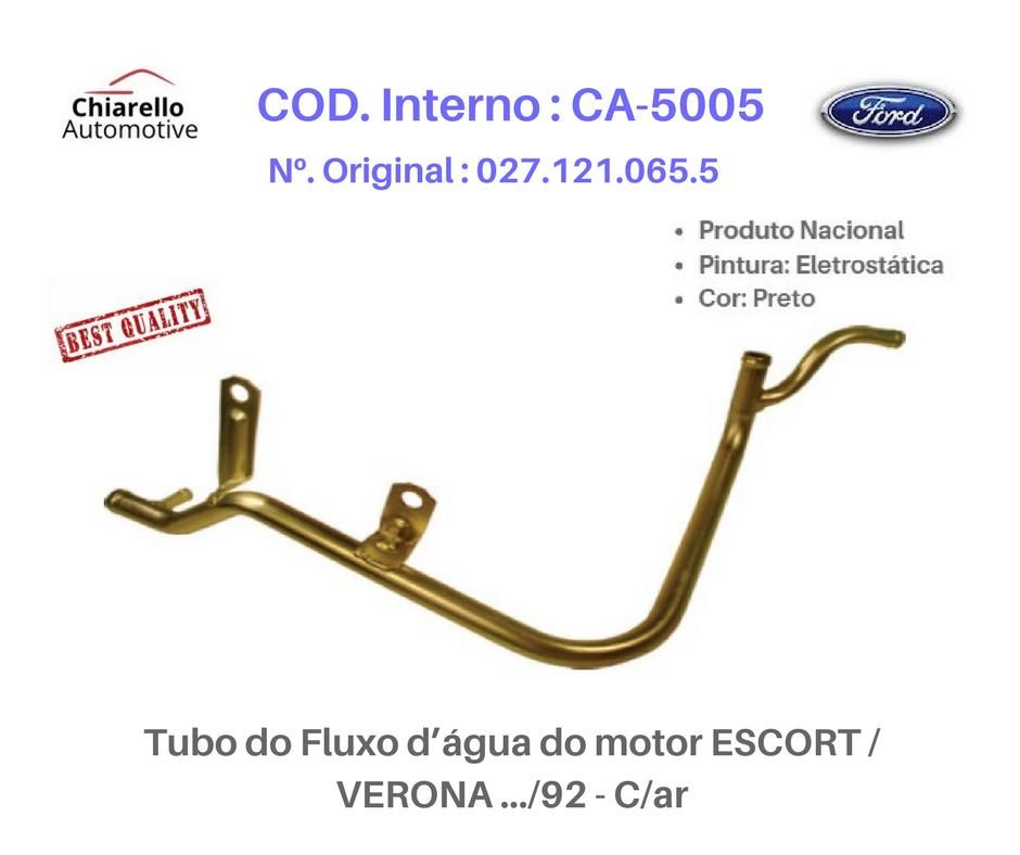 Tubo da água do motor ESCORT /VERONA .../92 – Com Ar Quente e Ar Condicionado  - Chiarello Automotive