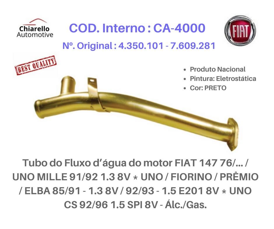 Tubo água do motor FIAT 147 UNO MILLE FIORINO PRÊMIO ELBA 8V - Álc./Gas.  - Chiarello Automotive