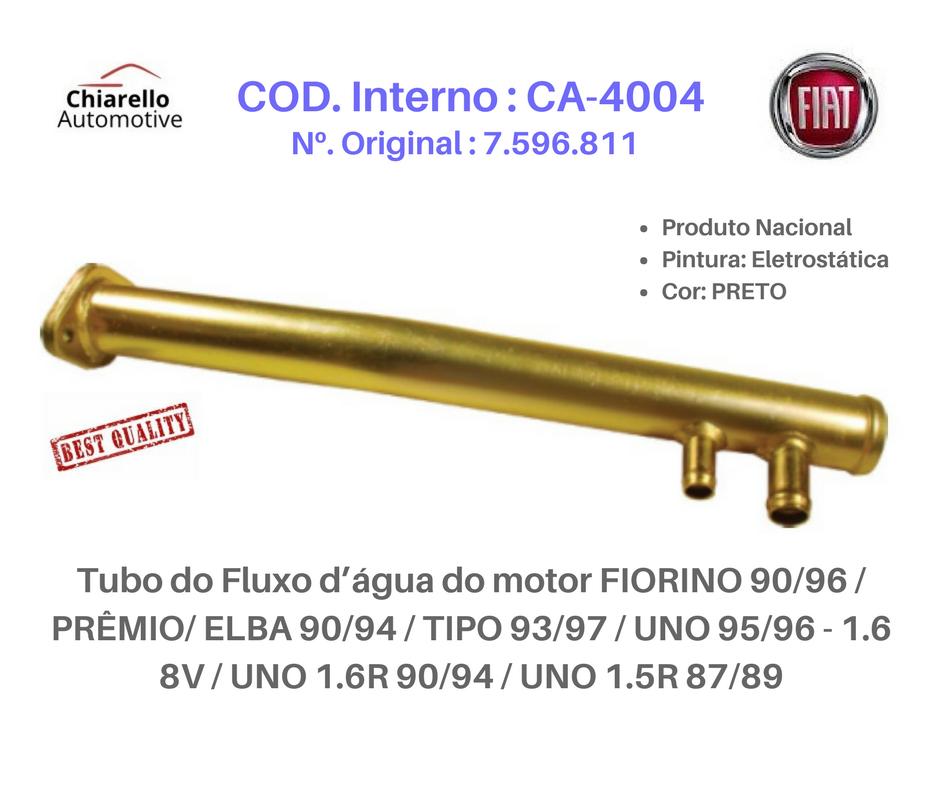 Tubo da água do motor FIORINO - PRÊMIO - ELBA - TIPO - UNO 1.6 8V - UNO 1.6R - UNO 1.5R 87/89  - Chiarello Automotive