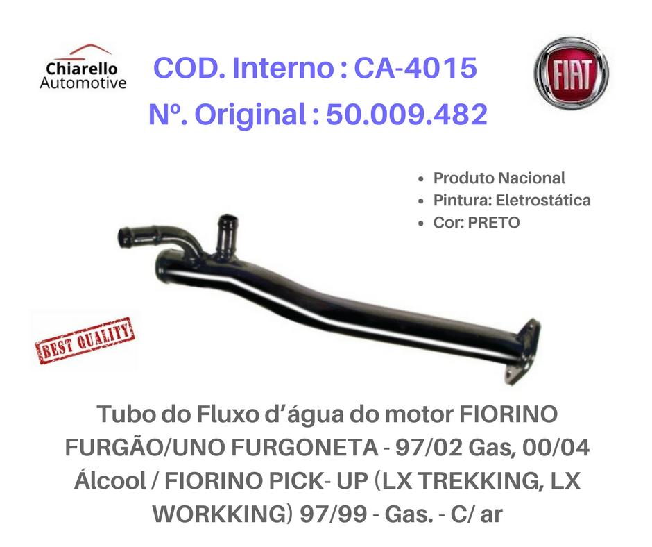 Tubo da água motor FIORINO UNO PICKUP TREK WORKKING Gas. - C/ ar  - Chiarello Automotive
