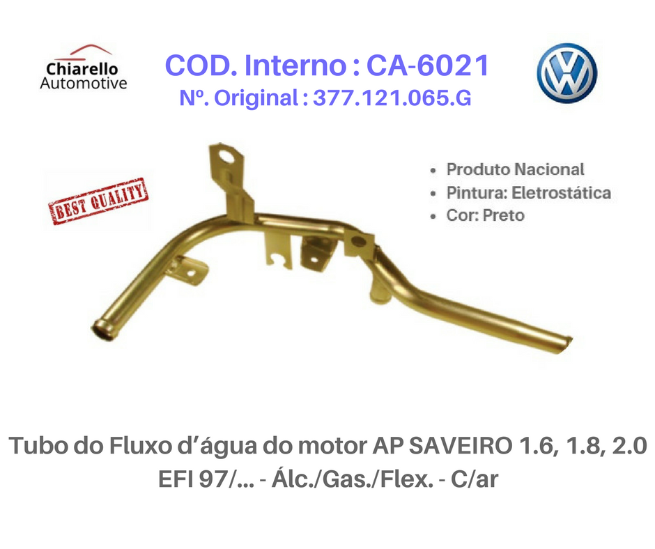 Tubo da água motor GOL 94/97 / PARATI 96/97 1.6, 1.8 EFI/CFI AP Álc./Gas. C/Ar Quente  - Chiarello Automotive