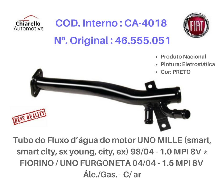 Tubo da água do motor MILLE ( TODOS ) 98/04  1.0 MPI 8v FIORINO - UNO FURGONETA 1.5 MPI 8V Alc. C/Ar  - Chiarello Automotive