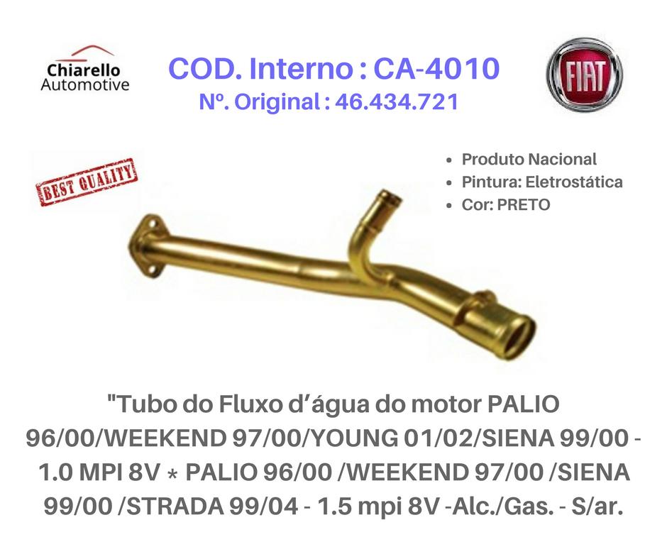 Tubo da água motor PALIO SIENA STRADA MPI 8V -Alc./Gas. - S/ar    - Chiarello Automotive