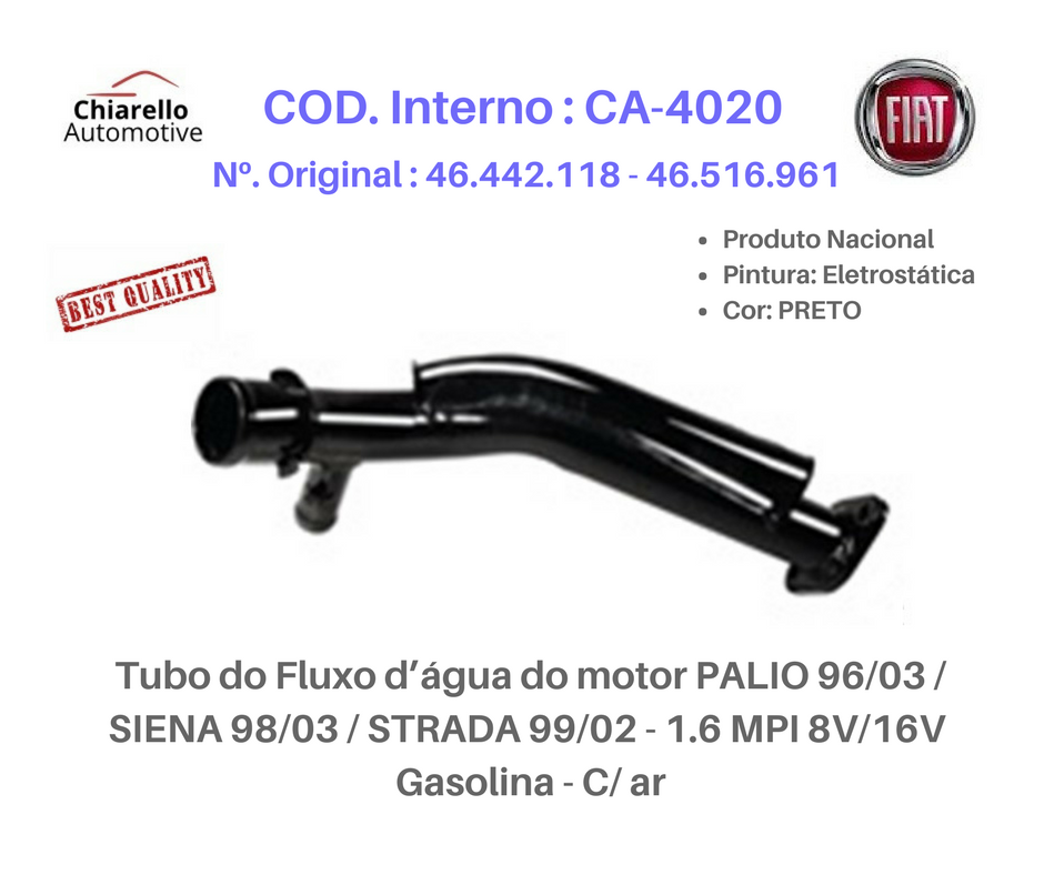 Tubo da água do motor PALIO 96/03 / SIENA 98/03 / STRADA 99/02 - 1.6 MPI 8V/16V - Gasolina - C/ ar  - Chiarello Automotive