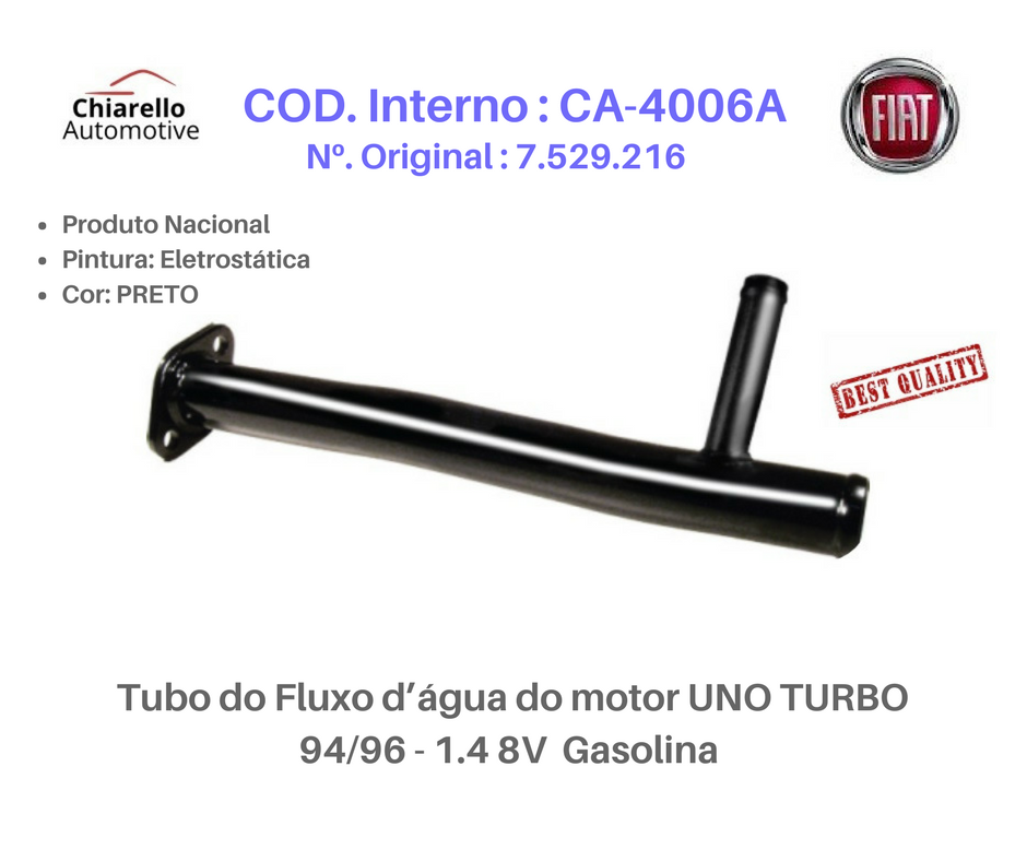 Tubo da água do motor PALIO - ADVENTURE - WEEK - SIENA - STRADA - TREKKING Gas. -S/Ar  - Chiarello Automotive