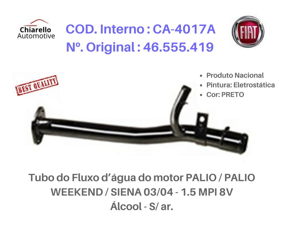 Tubo do Fluxo da água do motor PALIO / PALIO WEKKEND/ SIENA 1.5 MPI 8 v – Álcool   - Chiarello Automotive