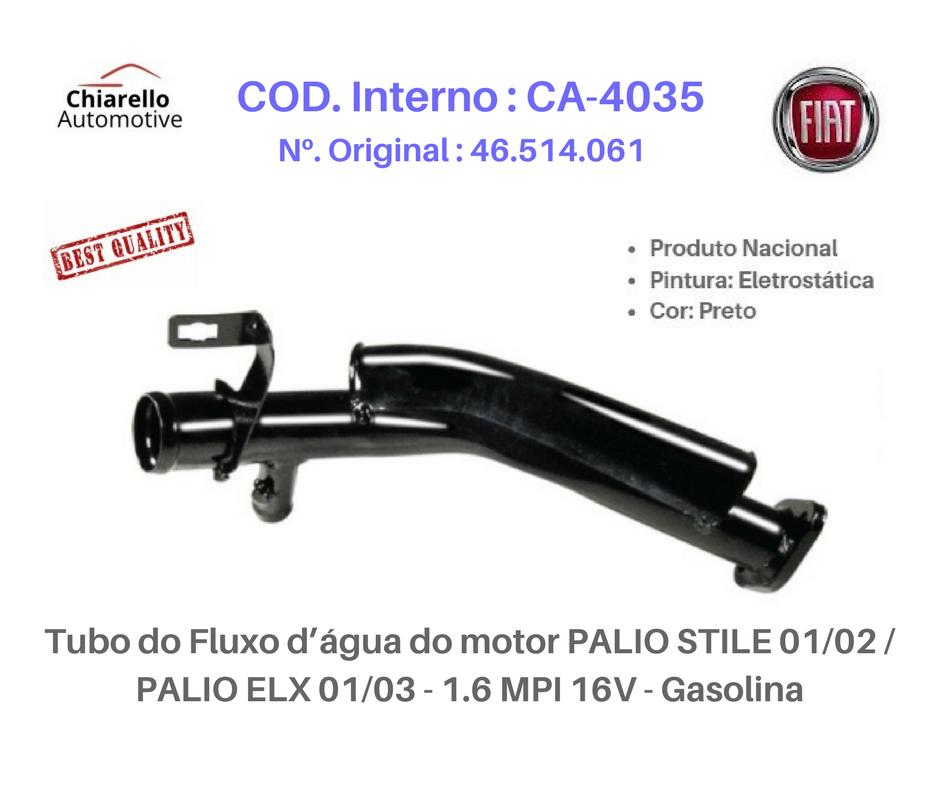 Tubo do Fluxo da água do motor PALIO STILE 01/02 / PALIO ELX 01/03 - 1.6 MPI 16V - Gasolina  - Chiarello Automotive