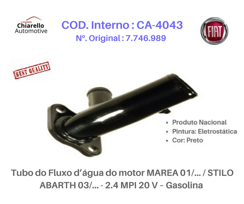 Tubo do Fluxo da água do motor TEMPRA TURBO STILE 95/98 - 2.0 MPI TURBO 8V – Gas.  - Chiarello Automotive