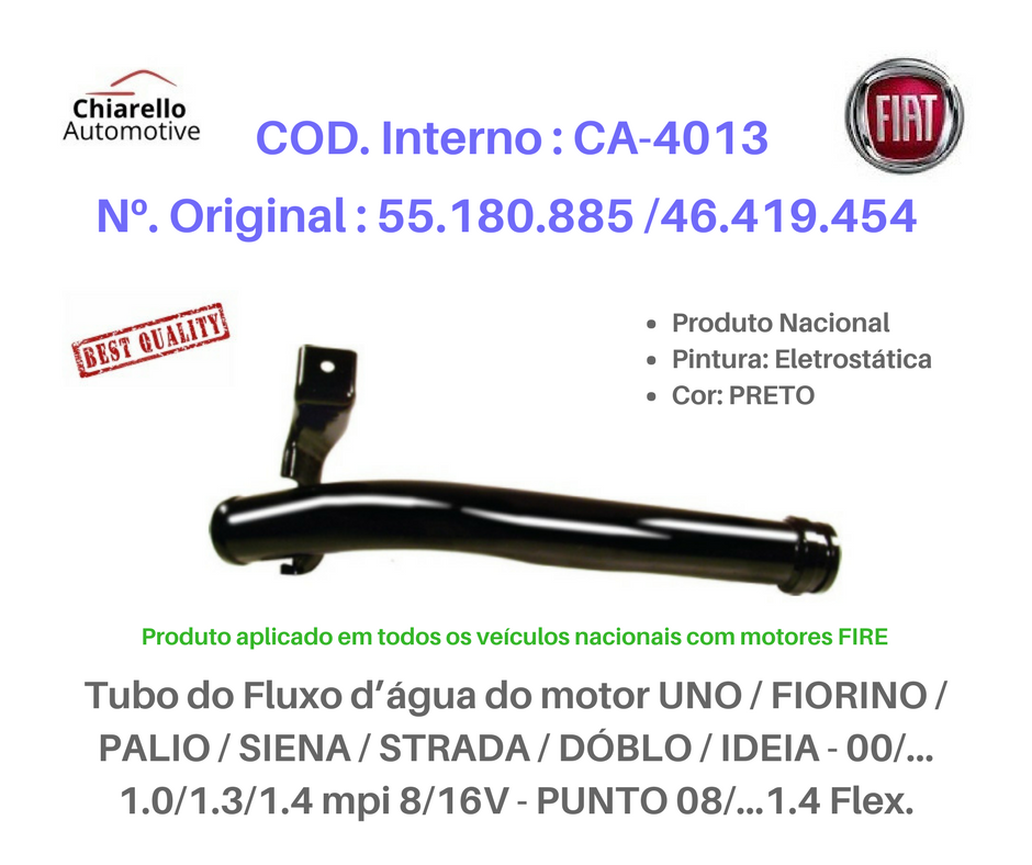 Tubo da água do motor UNO / FIORINO / PALIO / SIENA / STRADA / DÓBLO / IDEIA / PUNTO 08/...1.4 Flex.  - Chiarello Automotive