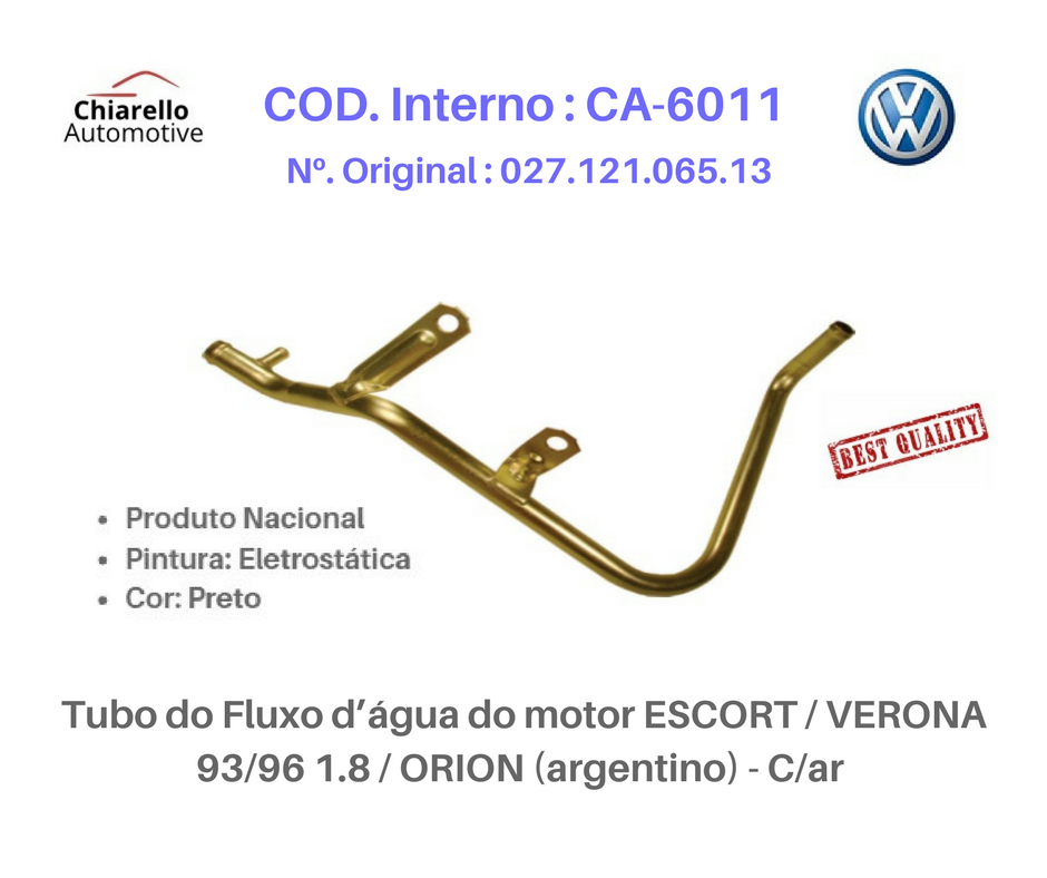 Tubo da água motor VERONA / ESCORT 1.8 - 93 À 96 / ORION (ARGENTINO) C/ AR.  - Chiarello Automotive