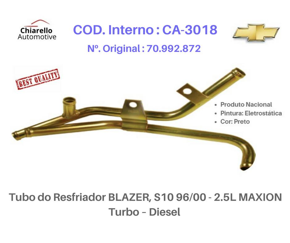 Tubo do Resfriador BLAZER S10 96/00 - 2.5L MAXION Turbo – Diesel   - Chiarello Automotive