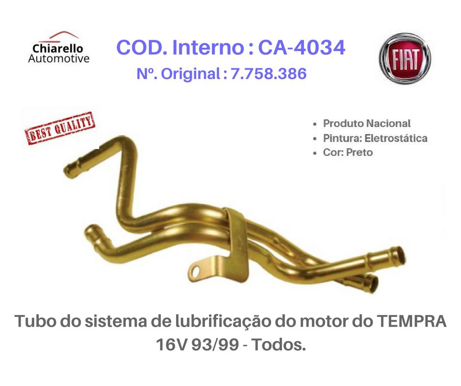 Tubo do sistema de lubrificação do motor do TEMPRA 16V 93/99 - Todos.  - Chiarello Automotive