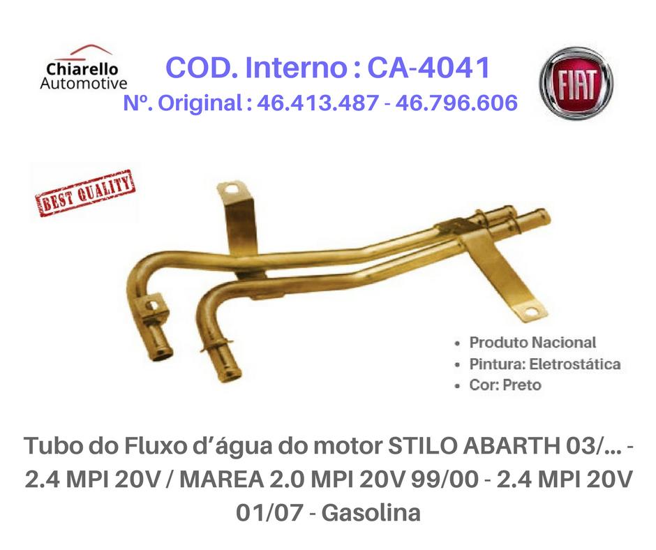 Tubo da água do motor STILO ABARTH 2.4 MPI 20v MAREA/WEEK ELX HLX 2.0 MPI 20v 01/07- Gasolina  - Chiarello Automotive