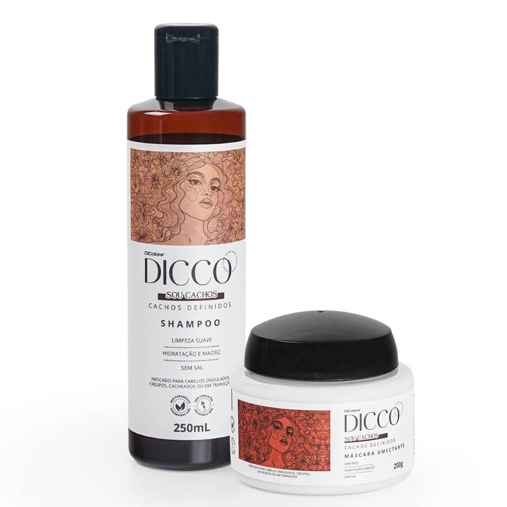 Kit Cachos Definidos e Poderosos  Shampoo + Máscara Umectante - DICCO