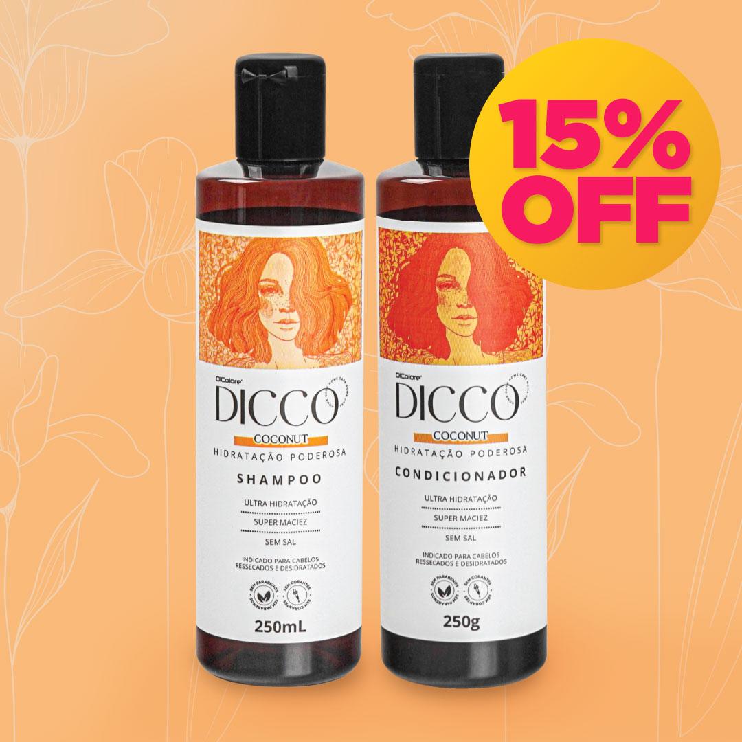 Kit Hidratação Poderosa com Óleo de Coco Coconut  Shampoo + Condicionador - DICCO