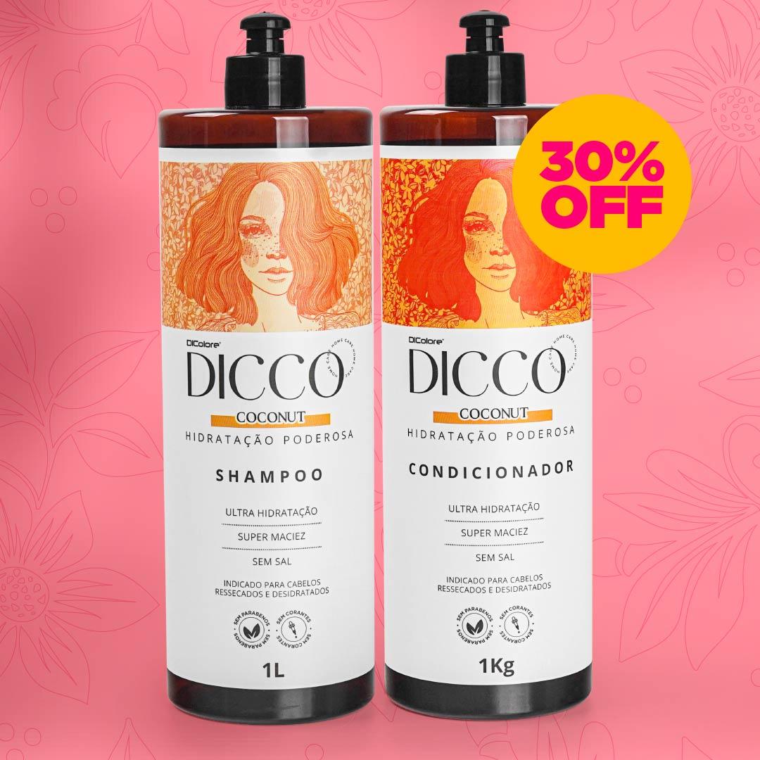 Kit Litro  Hidratação Poderosa com Óleo de Coco Coconut  Shampoo + Condicionador - DICCO