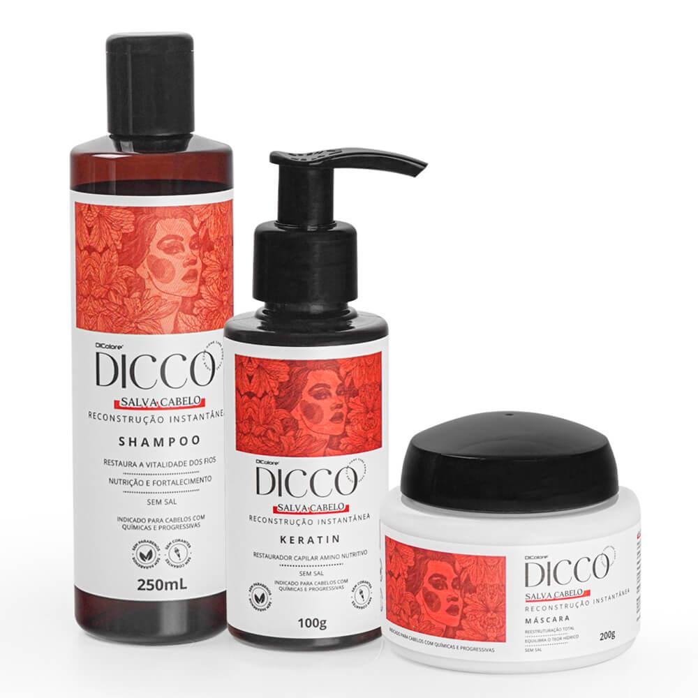 Kit Salva Cabelo Restauração Instantânea (3 produtos) - DICCO