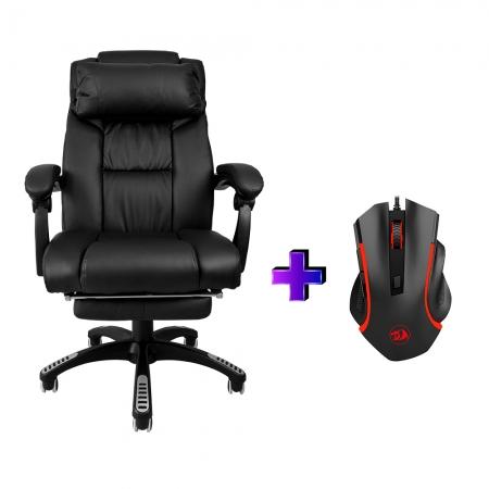 Compre e Ganhe no Kit Gamer :Cadeira Ac-8054 +Brinde Mouse Gamer Redragon Nothosaur Preto M606
