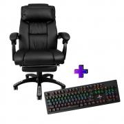 Compre e Ganhe no Kit Gamer : Cadeira Ac-8054 + Brinde Teclado Mecânico Concórdia K- X911 Com Switch Blue