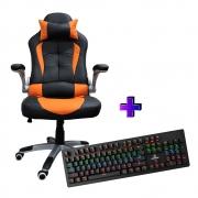 Compre e Ganhe no Kit Gamer : Cadeira AC 8057 Laranja + Brinde Teclado Mecânico Concórdia K- X911 Com Switch Blue