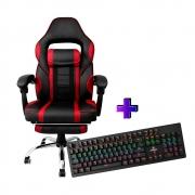 Compre e Ganhe no Kit Gamer: Cadeira AC 8069 Vermelha + Brinde Teclado Mecânico Concórdia K- X911 Com Switch Blue