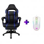 Compre e Ganhe no Kit Gamer: Cadeira Concórdia Ac-8069 Azul + Brinde Mouse Gamer Redragon M711W