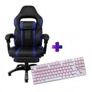 Compre e Ganhe no Kit Gamer: Cadeira Concórdia Ac-8069 Azul + Brinde Teclado Gamer Redragon Single Color Branco