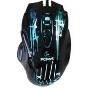 Mouse Gamer Pcfort Usb Am-6112 Preto Com Rgb 3200dpi