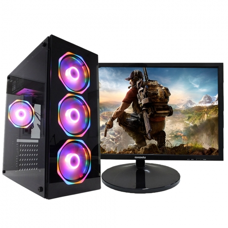 Pc Gamer One Concórdia Completo Monitor De 21.5'' Core I5  8Gb Hd 1Tb Ssd 120Gb Placa De Vídeo Gtx 1650 4Gb Com Wifi