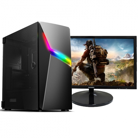 Pc Gamer Top Concórdia Completo Monitor 21.5''  Ryzen 5 16Gb Hd 1Tb Ssd 120Gb Placa De Vídeo Gtx 1650 Com Wifi