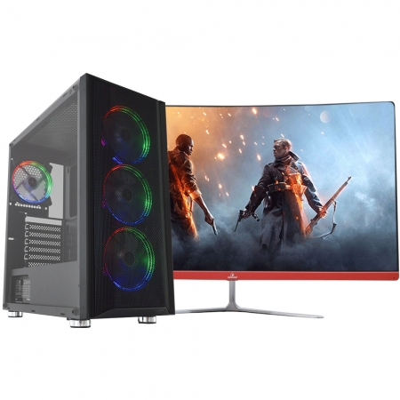 "Pc Gamer Top Concórdia Completo Monitor  27"" Processador Ryzen 5  8gb Hd 1tb Ssd120gb Placa De Vídeo Rx 550 4gb Com Wifi"