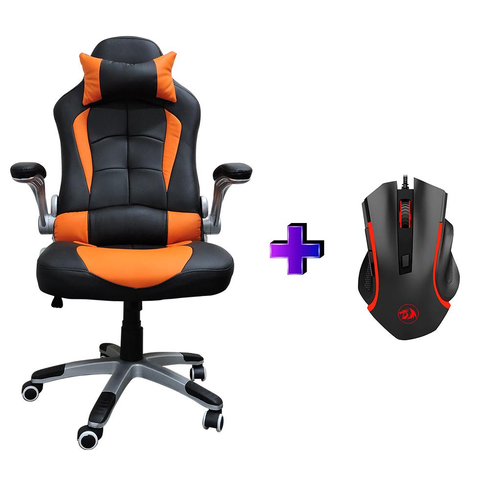 Compre e Ganhe no Kit Gamer: Cadeira Concórdia Ac-8057 Laranja + Brinde Mouse Gamer Redragon Nothosaur Preto M606