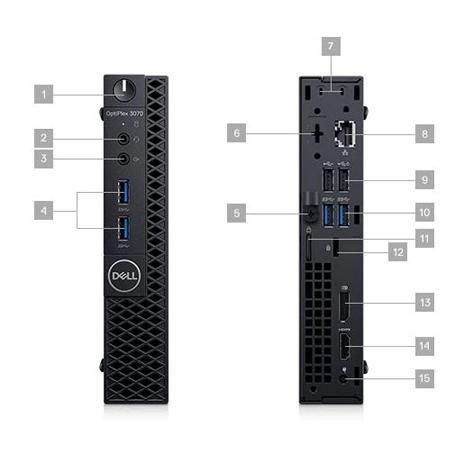 Computador Dell Optiplex 3070 Micro I5 9500t Memória 8gb Ddr4 Hd 1tb + Ssd 256gb Sistema Windows 10 Pro