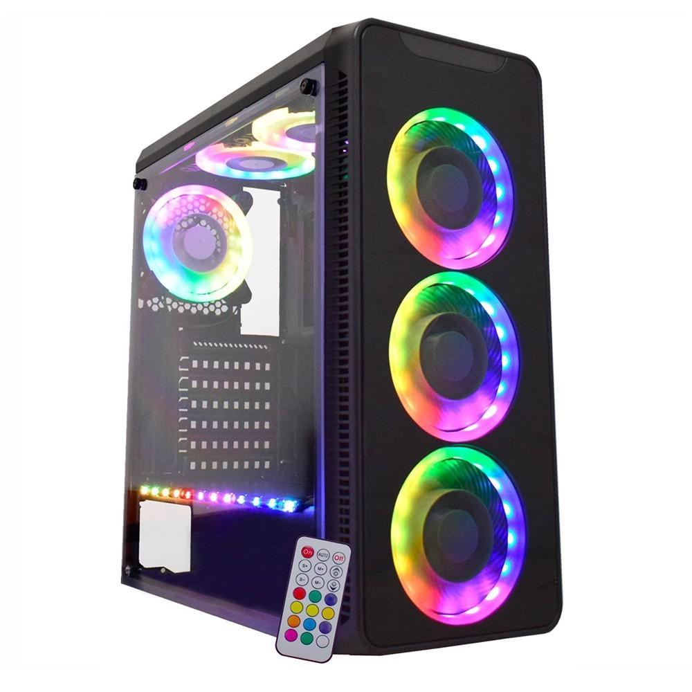 Gabinete Gamer K-mex Infinity V Com Controle Rgb 3 Fans Inclusos