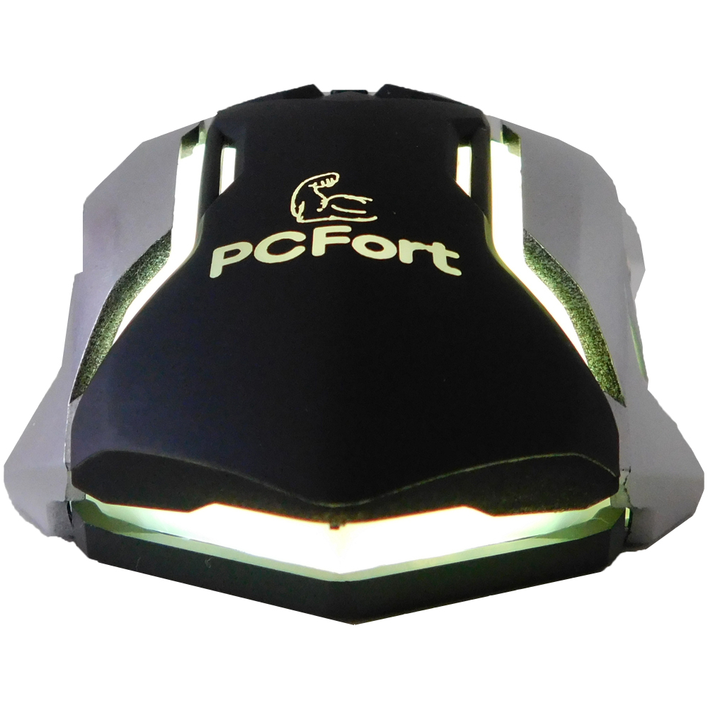 Mouse Gamer Pcfort Usb Am-9882 Preto E Cinza Com Rgb