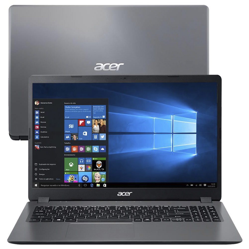 "Notebook Acer A315 Core I3 1005g1 Memoria 8gb Ssd 480gb Tela Hd 15.6"" Sistema Windows 10 Home"