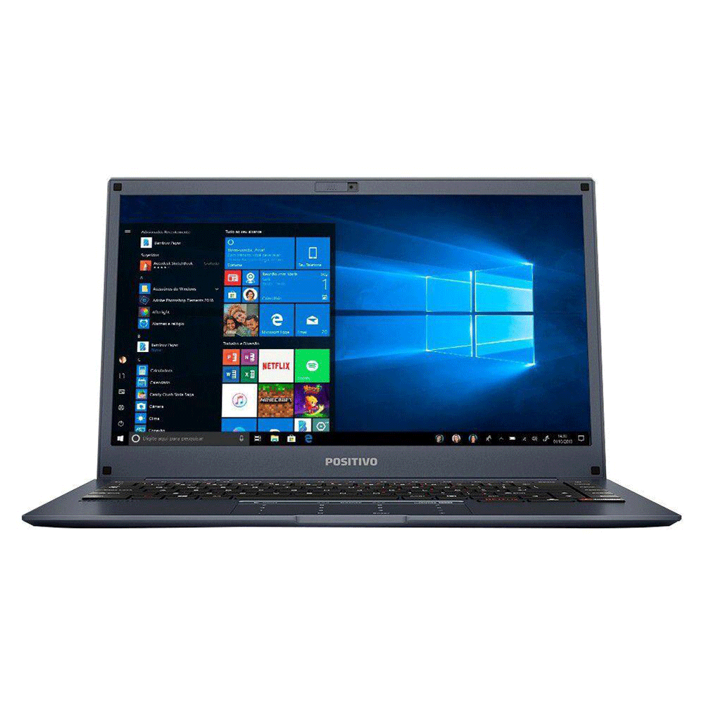 "Notebook Positivo Motion Plus Q464b Intel Atom Memória 4gb Lpddr3 Ssd 64gb + 64gb Nuvem Tela 14"" Hd Led Windows 10 Home"