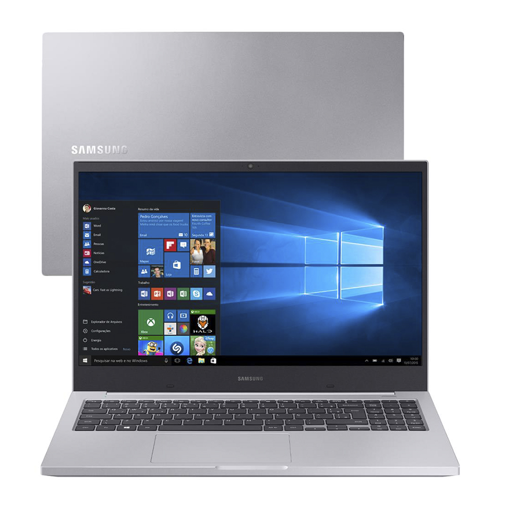 Notebook Samsung Book X20 Np550 Core I5-10210u Memoria 16gb Ssd 480gb Tela 15.6' Fhd Windows 10 Home Prata