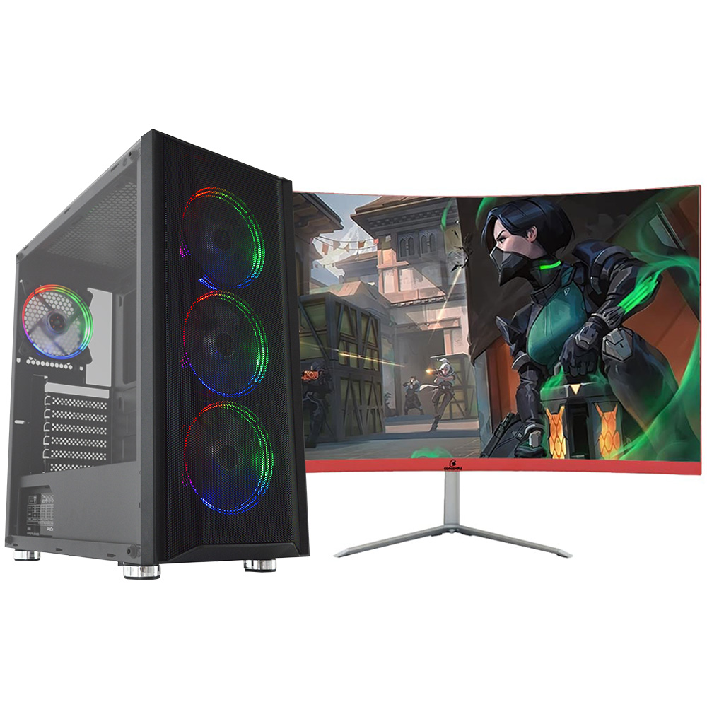 Pc Gamer Top Concórdia Completo Monitor 23.8'' Core I5 9400F 16Gb Hd 1Tb Ssd 120Gb Placa Vídeo Geforce 1650Gtx 4Gb Wifi