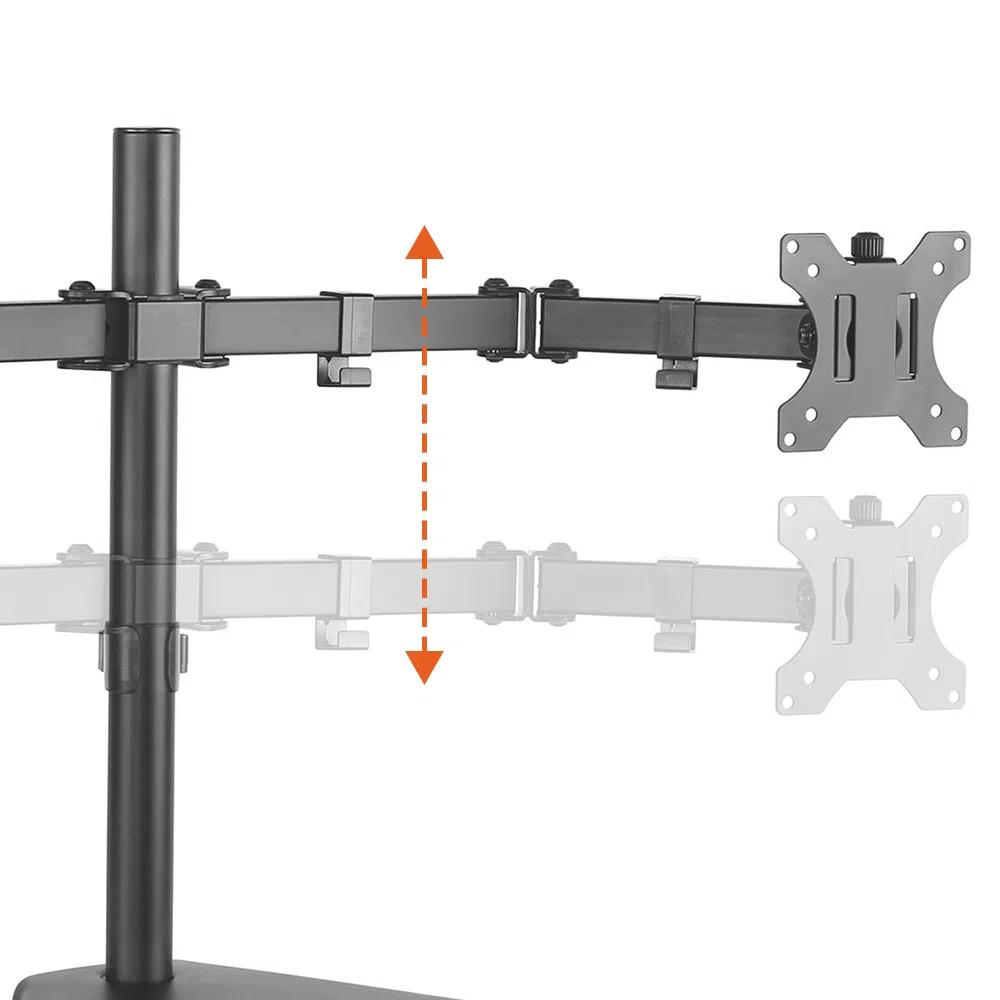 Suporte Articulado De Mesa Com Regulagem De Altura Para 2 Monitores De 17'' A 32'' - T1224n