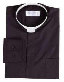 Camisa Clerical Romana Manga Larga Negro CR168