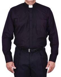 Camisa Clerical Tradicional Manga Larga Negro CT068