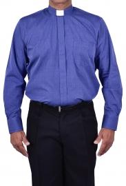Camisa Clerical Tradicional Manga Larga Azul Mezcla CT068