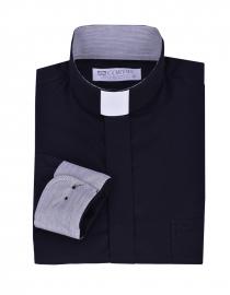 Camisa Clerical Tradicional Manga Larga con detalle Negro