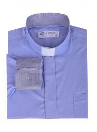 Camisa Clerical Tradicional Manga Larga con detalle Azul