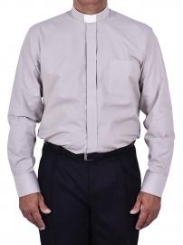 Camisa Clerical Tradicional Manga Larga Gris CT068