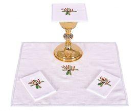 Conjunto Paños de Altar Lino Trigo Cruz y Uva B007
